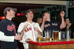 Boston Red Sox fans at Red Sox bar